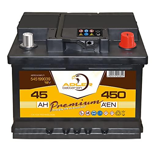 Starterbatterie 12V 45 Ah 450A Adler PKW-Batterie 54599 statt 35Ah 40Ah 42Ah 44Ah