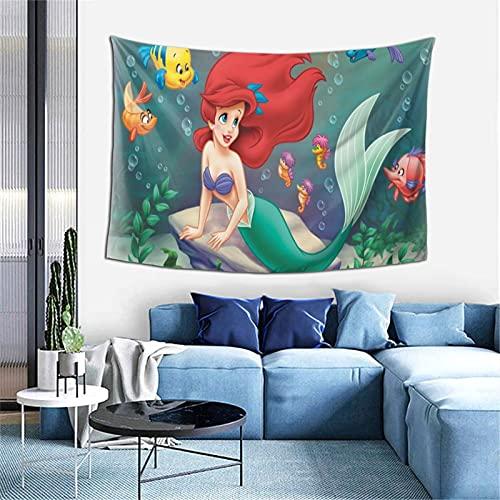 Tapiz de princesa Ariel, mandala indio pensamiento mágico tapiz para colgar en la pared