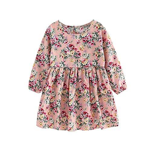 Robe pour Bébé Filles,BUKINIE Robe Fille Mode Vetement Bebe Fille Printemps Eté Robe de soirée décontractées à Fleurs Imprimé Floral Vintage Pincesse (Rose,8-9 Ans)