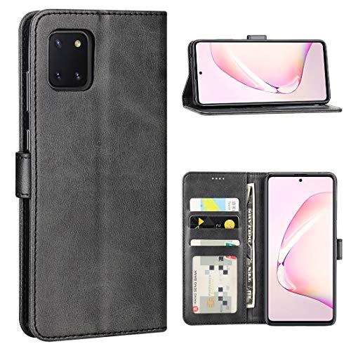 CRESEE für Samsung Galaxy Note 10 Lite Hülle, PU Leder Handyhülle mit 3 Kartenfächer, Schutzhülle Case Tasche Magnetverschluss Flip Cover Standfunktion Stoßfest Brieftasche für Note 10 Lite (Schwarz)