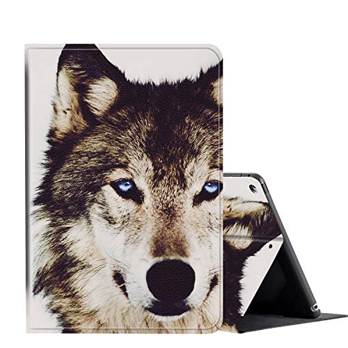 IPad 10.2 Inch 2019 Case, AMOOK PU Leather Adjustable Stand Cover Protection with Auto Wake/Sleep Smart Cover for Apple iPad 7th Gen-Blue Eyed Wolf Face