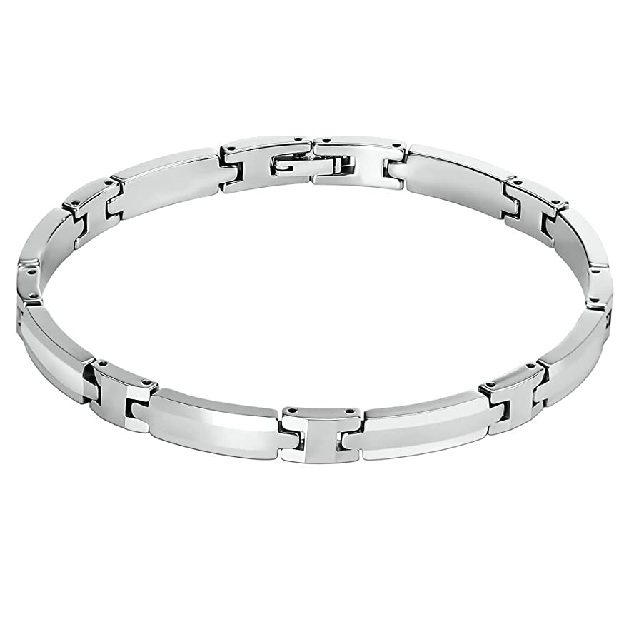 AMDXD Jewelry Stainless Steel Link Bracelets for Men Arch Silver 0.6CM gacheiepcnonh959