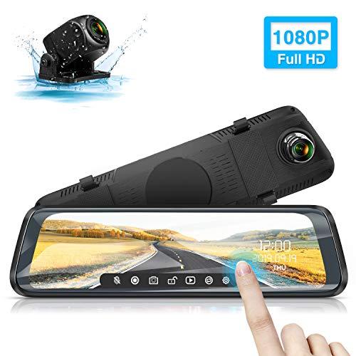 Caméra de Voiture, WiMiUS Dashcam Voiture Rétroviseur Écran Tactile 10 Pouces FHD 1080P Caméra Voiture Embarquée Avant et Arrière, Caméra de recul pour Stationnement, Grand Angle, Vision Nocturne