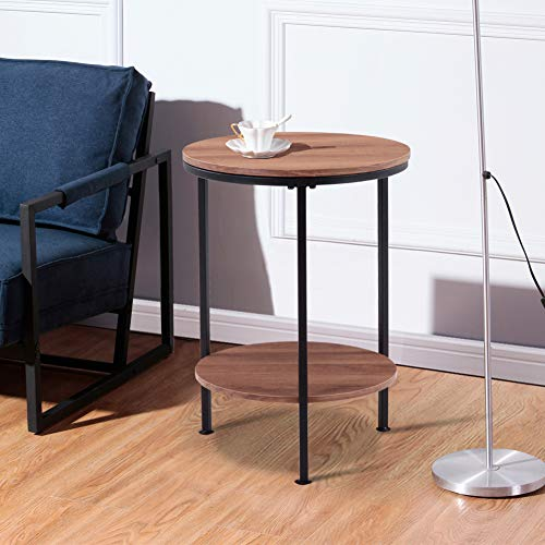 GOLDFAN Round Coffee Side Table Wooden Sofa End Bedside Table Small Metal Lamp Table with 2 tier Storage for Living Room Bedroom,Brown