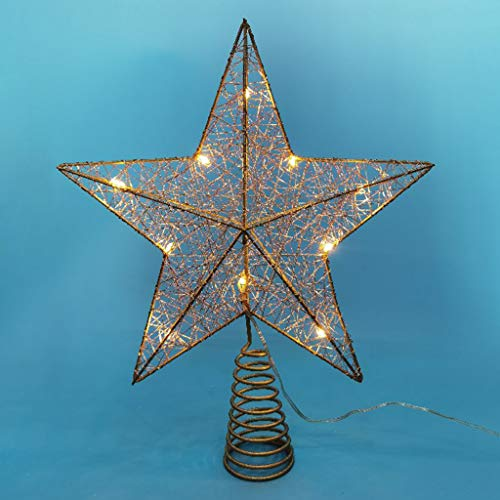 BINGBIAN Christmas Tree LED Star Tree Topper Battery Operated Treetop Christmas Decoration Hanging