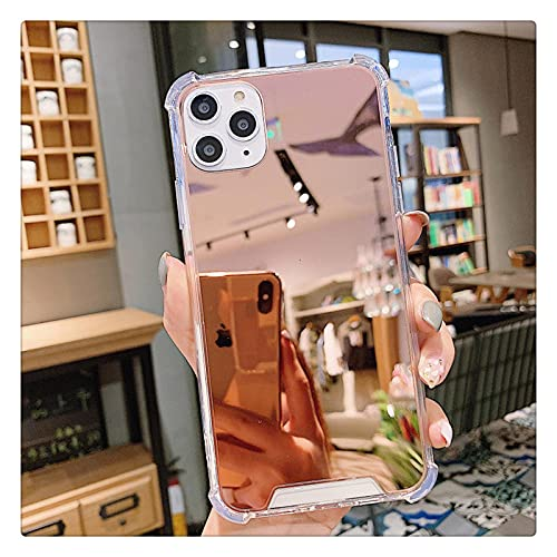 Estuche de TPU con Espejo Transparente de Lujo para iPhone XS MAX XR 12 11Pro MAX Funda a Prueba de Golpes para iPhone 7 8 6s Plus 11 Pro Funda para teléfono-For_iPhone_12_Rose_Gold