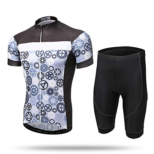 Hammock Bicycle Jersey,for Men Wicking Breathable Quick-Dry Clothing Full Zip Short Sleeve Bike Shirt with Padded Sports Shorts Set, for MTB Road Bike