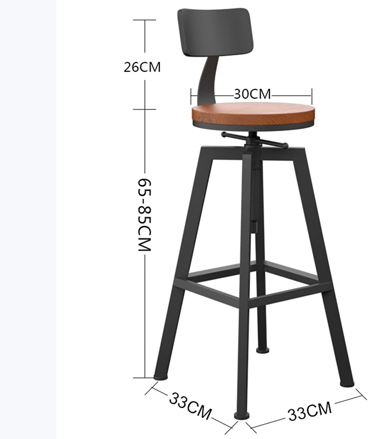 Bar Stool Iron Lift Stool Round redate Solid Wood Seat color Optional 33  33  65cm High Stool (color   B)
