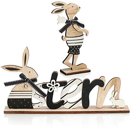 com-four® 2-teiliges Set Oster-Deko aus Holz - Aufsteller mit Schriftzug und Osterhase - Holz-Deko für Ostern zum Hinstellen (Set03 - Hasen)