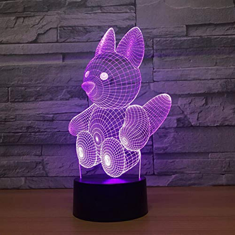 Wuqingren 7 Farbwechsel Nachtlicht 3D Eichhrnchen Modellierung Led Touch-Taste Tier Schreibtischlampe USB Baby Schlafzimmer Nacht Schlaf Dekor,Remote und berühren