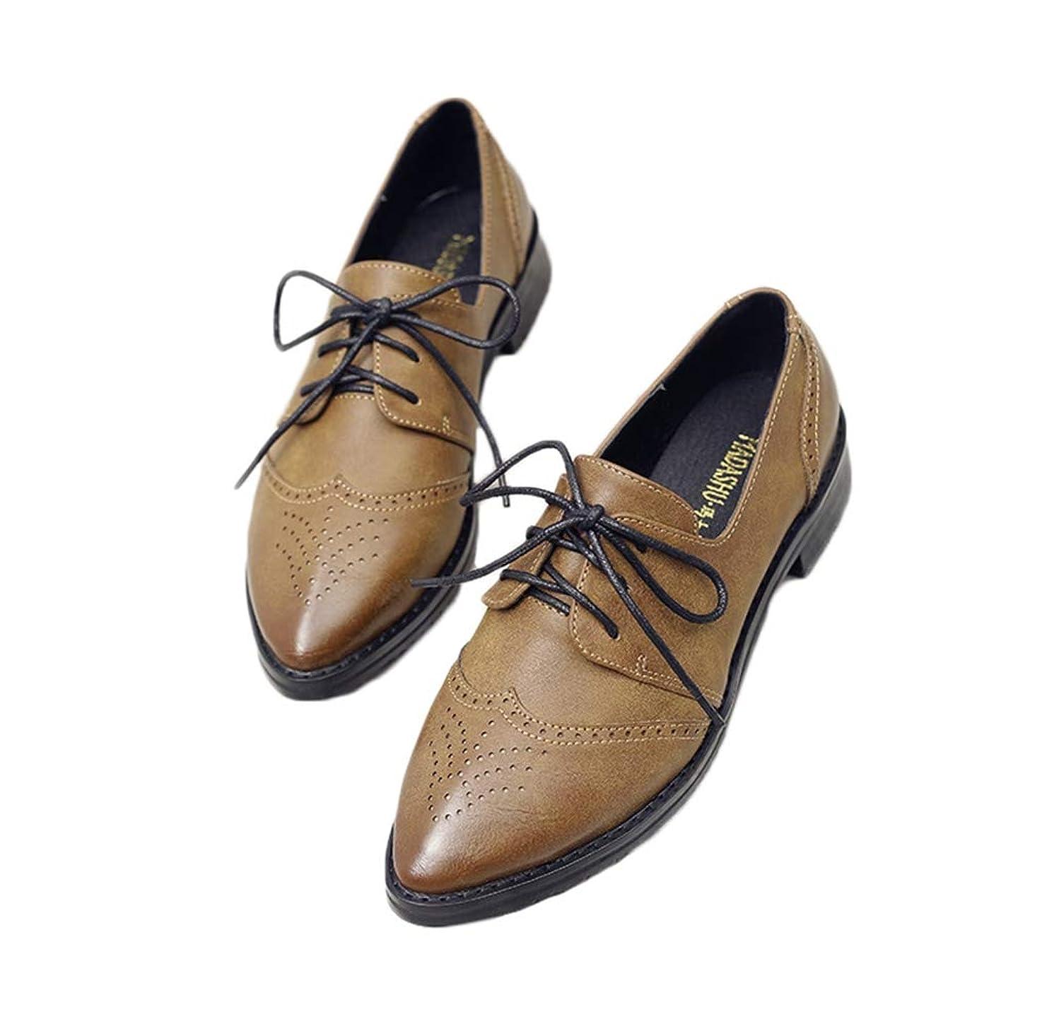 メンバーマウント項目レースアップシューズ レディース オックスフォード おじ靴 靴 マニッシュシューズ ウイングチップ とんがり靴 大きいサイズ オックスフォードシューズ フラット ローヒール ポインテッドトゥ かっこいい カジュアル 黒