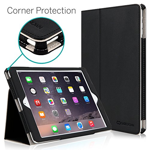 """iPad Air 2 9.7"""" Case, [Corner Protection] CaseCrown Bold Standby Pro (Black) with Sleep/Wake & Multi-Angle Viewing Stand"""