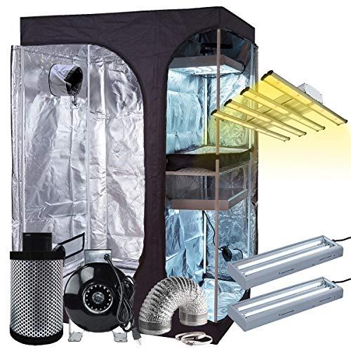 BloomGrow 60''x48''x80'' 2-in-1 Mylar Grow Tent + 6'' Fan Filter Ventilation Kit + 1200W LED Full Spectrum Grow Light + 2PCS 24W 2ft 2-lamp 6500K T5 Lights Indoor Plant Grow Tent Complete Kit