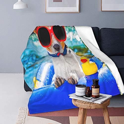 QINCO Suave Micro Lana Manta de Tiro Decor del Hogar,Gracioso,Perro Jack Russell con Gafas de Sol Sentado en la Playa del Lago Cachorro en la Playa,Ligero Sofá Cama Edredón de Franela,60' x 80'