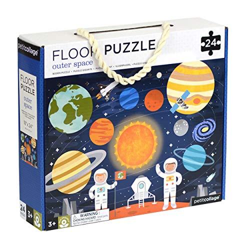 Petit Collage Bodenpuzzle, Weltraum, 24 Teile, großes Puzzle für Kinder, komplettes Weltraum-Puzzle, Maße: 45,7 x 61 cm, tolle Geschenkidee für Kinder ab 3 Jahren