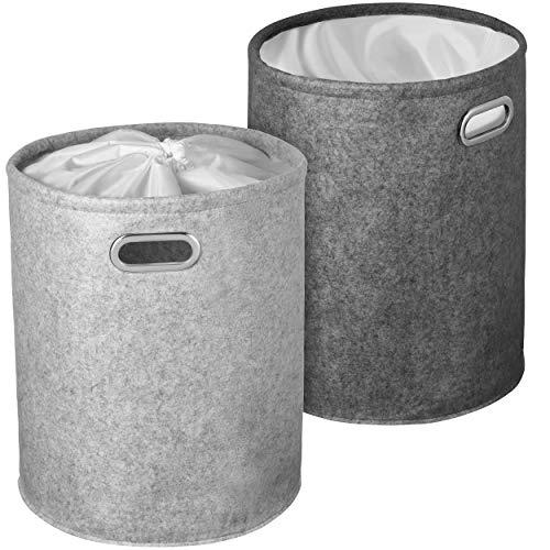 WELLENBORG Set di cestini della biancheria con schermo per la privacy [confezione da 2]   Raccoglitore moderno per bucato   Portabiancheria grigio in feltro e d'alta qualità   50 litri ciascuno