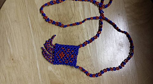 Native American inspired beaded ceremonial pouch necklace handmade blue
