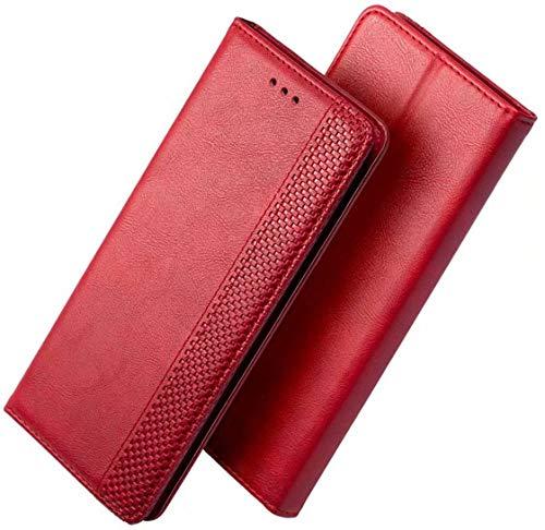 FANFO® Hülle für Google Pixel 4a 5G (6.2'') HandyHülle, Premium PU Leder Tasche Magnetverschlüsse Schutzhülle Flip Wallet Klapphülle Folio Book Style Hülle Cover, Rot