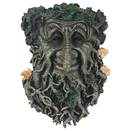Tree Face Sculpture, Flower Planter Pot Hand-Painted Greenman Tree Face Garden Decoration for and Home Décor