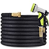 TOCZIM 100ft Flexible Garden Hose - Superior Strength 3750D, 4-Layers Latex with 3/4' Solid Brass Connectors, 9 Function Spray Nozzle, Easy Storage Kink Free Lightweight Water Hose