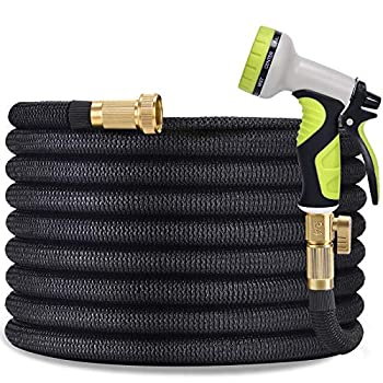 TOCZIM 100ft Flexible Garden Hose - Superior Strength 3750D 4-Layers Latex with 3/4  Solid Brass Connectors 9 Function Spray Nozzle Easy Storage Kink Free Lightweight Water Hose