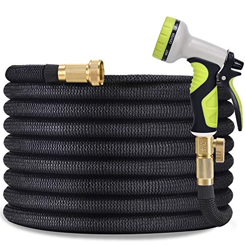 """TOCZIM 100ft Flexible Garden Hose - Superior Strength 3750D, 4-Layers Latex with 3/4"""" Solid Brass Connectors, 9 Function Spray Nozzle, Easy Storage Kink Free Lightweight Water Hose"""