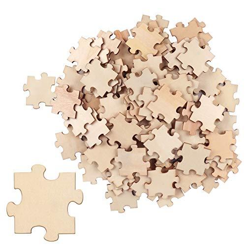 BELLE VOUS Puzzle in Legno Grezzo (Set da 100) - Puzzle da Colorare da 4,5 x 3,8 cm - Puzzle Legno Bambini e Adulti per Artigianato Fai-da-Te - Puzzle di Legno per Feste