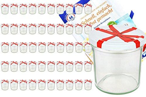 MamboCat 50er Set Sturzglas 350 ml to 82 weißer Deckel mit Schleifendekor incl. Diamant Gelierzauber Rezeptheft Marmeladenglas Einmachglas Einweckglas