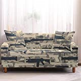 Sofa Cover 2 Seater Blue Toy Pattern Stretch Elastic Non Slip Sofa Slipcovers with 2PCS Pillow Case Cover Polyester Loveseat Printed Couch Covers Cushion Sofa Protector for Pets