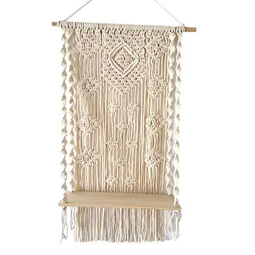 Tapiz de borla tejida macramé para colgar en la pared con estante decoración de pared para apartamento, hogar, sala de estar, fila blanca