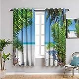 VICWOWONE Decoración oceánica para sala de estar, cortinas opacas de 182 cm de largo, hoja de palma y costa tropical de playa, 2 paneles de 163 cm de ancho x 72 pulgadas de largo