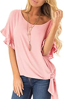 Xturfuo Women's Ruffled Sleeves Blouse Loose Casual Round Neck Top T-Shirt