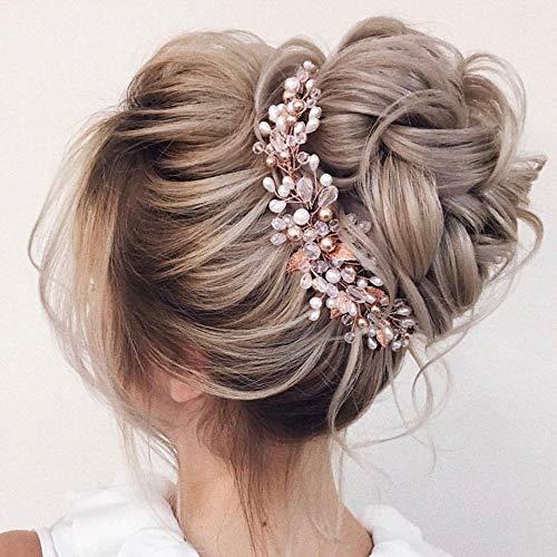BERYUAN Damen Perlenkranz Vintage Rose Gold Blatt Lange Haar Rebe Haarteil Hochzeit Haarschmuck Geschenk für sie Kristall Haarteil Party Kopfschmuck für Braut Brautjungfer Mädchen (Roségold)