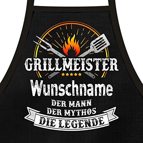 Shirtoo Grillschürze mit Spruch personalisierbar - Grillmeister [Wunschname] der Mann, der Mythos, die Legende schwarz