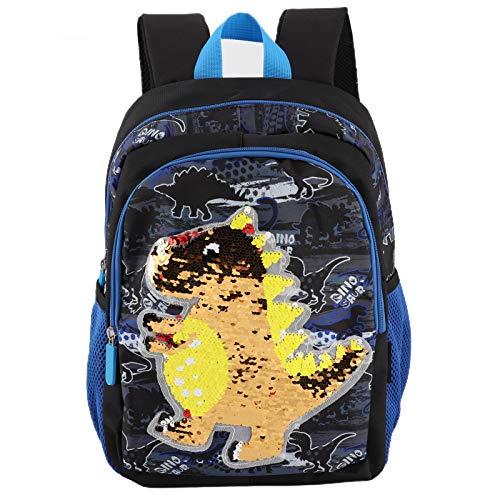 Mochila Escolar con Diseño de Dinosaurio de Dibujos Animados de Moda,mochila impermeable Mochilas escolares ligeras para niños y niñas de viaje 36,5 x 28 x 14,5 cm(Azul negro)