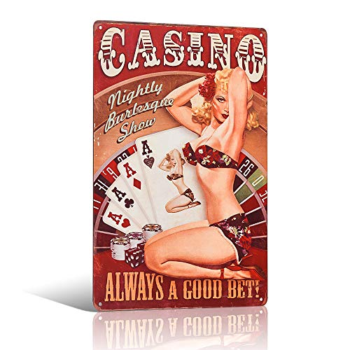 Casino Blechschild Retro Dekoration für Zuhause Bar Pub