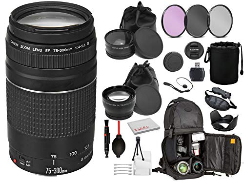 Canon EF 75-300mm f/4-5.6 III Lens (6473A003) with Professional Bundle Package Deal Kit for Canon EOS Includes: DSLR Sling Backpack, 3PC Filter Kit, Wide Angle & Telephoto Lens + More