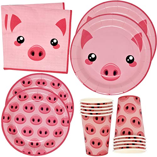 Pink Pig Farm Animal Barn Party Supplies Set 24 9  Paper Plates 24 7  Plate 24 9 Oz Cups 50 Lunch Napkin for Piggy Piglet Birthday Baby Shower Barnyard Cowboy Cowgirl Farmhouse Pigs Themed Dinnerware