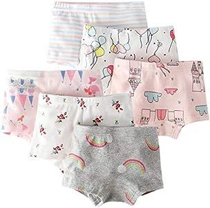 Happy Cherry - Conjuntos 6 Braguitas Calzoncillos Bóxer para Niñas Ropa Interior Suave para Verano Girls Underwear de Algodón para Niña Chica de 11-12 Años