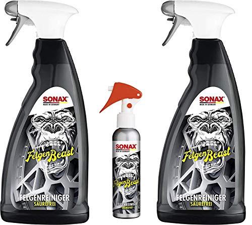 SONAX FelgenBeast (2 x 1 L) entfernt selbst biestige Verschmutzungen auf Allen polierten, verchromten und matten Stahl- und Leichtmetallfelgen | Inkl. Gratis Aktionsflasche 140ml