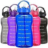 BuildLife Botella de agua motivacional de 2 L, sin BPA, con pajita y soporte para teléfono, recordatorio para beber más diario/a prueba de fugas, reutilizable, gran capacidad (azul, 2 litros)