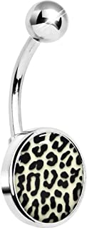 Unisex Adult Glow in The Dark Leopard Print Belly Button Ring