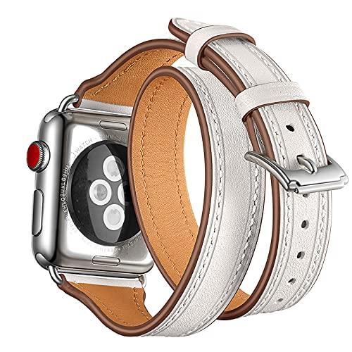 Correa compatible con Apple Watch de 38 mm, 40 mm, 42 mm, 44 mm, piel auténtica clásica de doble recorrido, diseñada para iWatch Series 6/SE, 5/4, 3/2, 1, blanco, 42 mm/44 mm
