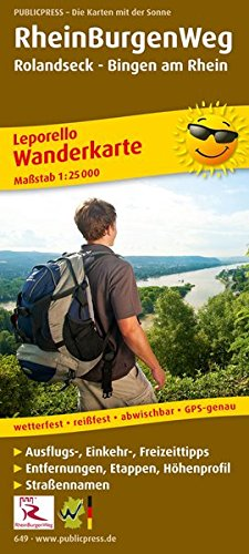 RheinBurgenWeg, Rolandseck - Bingen am Rhein: Leporello Wanderkarte mit Ausflugszielen, Einkehr- & Freizeittipps, wetterfest, reißfest, abwischbar, GPS-genau. 1:25000 (Leporello Wanderkarte / LEP-WK)