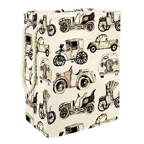 Cesta de lona plegable de tamaño grande de 40,4 cm, impermeable, con asas para almacenamiento de la habitación de los niños, organizador del hogar, guardería, cesta de bebé, coches clásicos