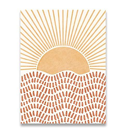 Boho Poster Sun Abstract Line Painting Canvas Print Posters Imagen de Arte de Pared para decoración de Sala de Estar - (50x70cm) x1pcsNoFrame
