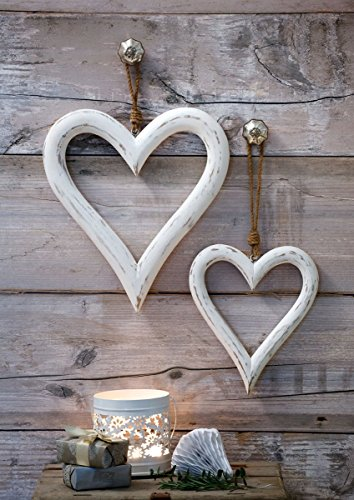 Retreat - Home Ltd Set of 2 Large Rustic White Washed Wooden Hanging Hearts