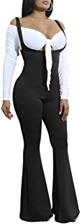 Women Bodycon High Waist Boot Cut Flare Suspenders Pant Bib Overalls Jumpsuit