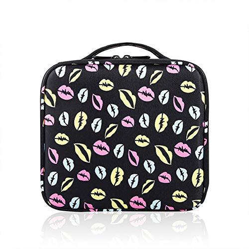 Trousse à maquillage portative, avec sac à cosmétiques avec séparateurs ajustables, outil pour organisateur de toilette, sac de rangement de 10 pouces pour maquilleur,Printing