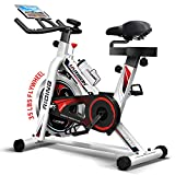 HARISON Exercise Spin Bike Indoor Cycling Bike Belt Drive with Table Holder 35LBS Flywheel for Home Gym Cardio Fitness Workout (HR-1850 pro)